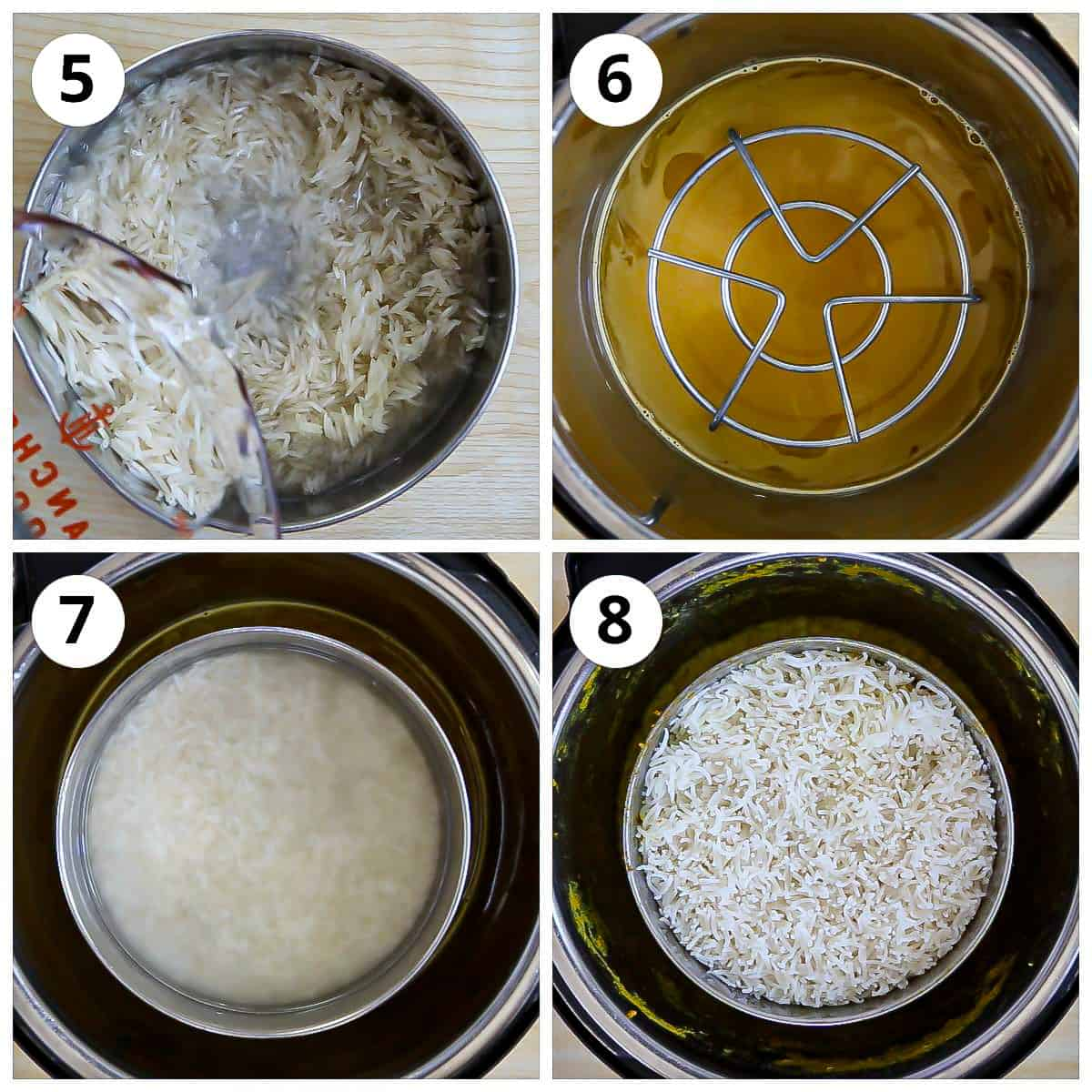 steps for rinsing and cooking the rice pot in pot with varan