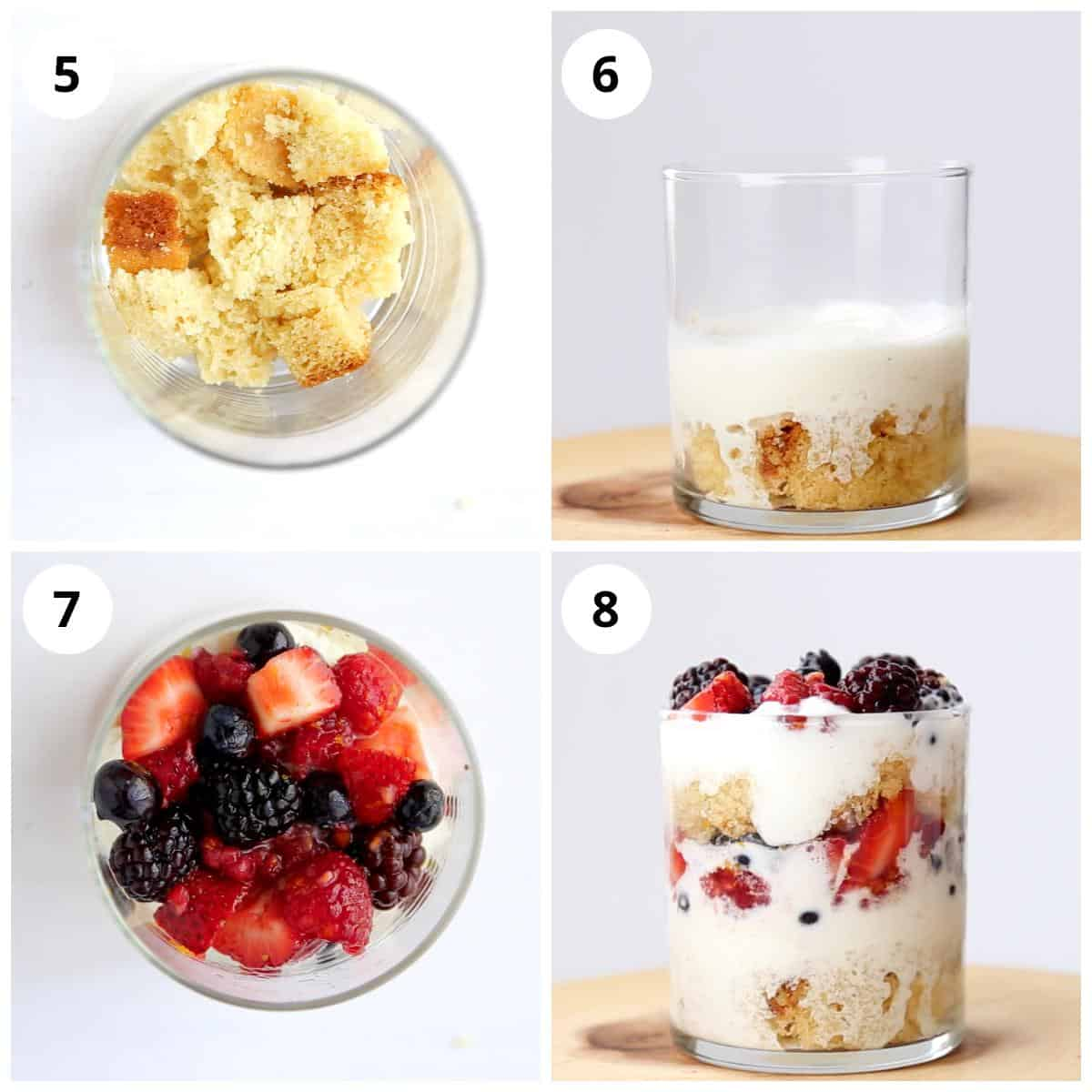 steps for assembling the berry parfait