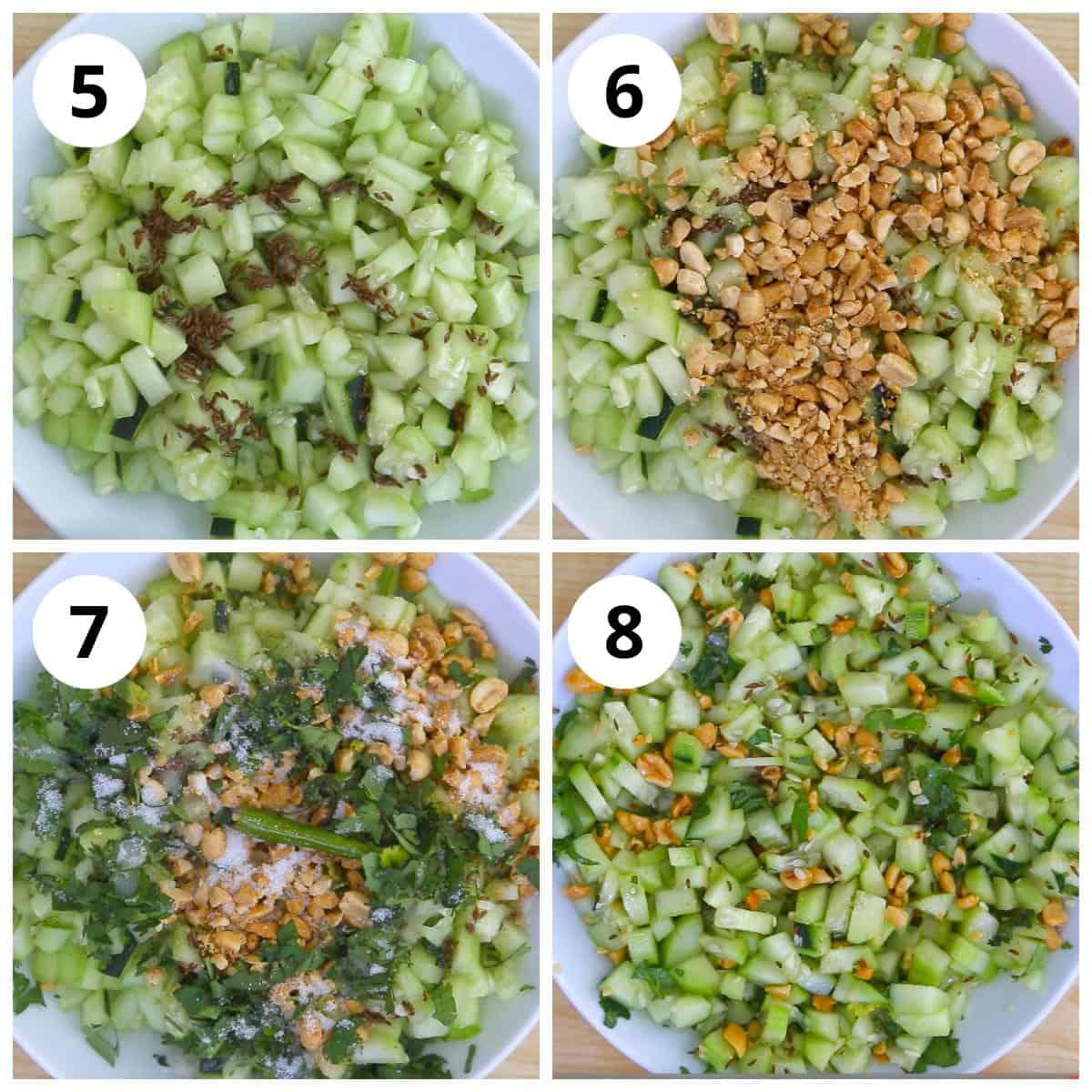 Steps for making kakdi koshimbir by mixing all ingredients