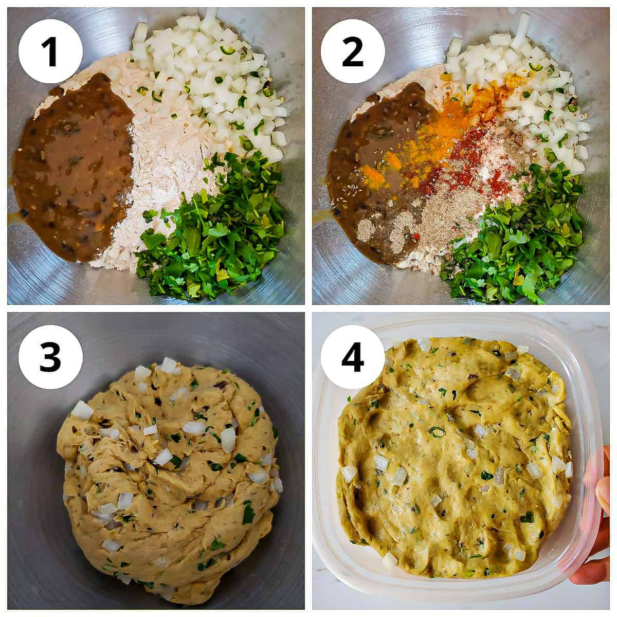 Step by step photos to show how to make the dal paratha dough