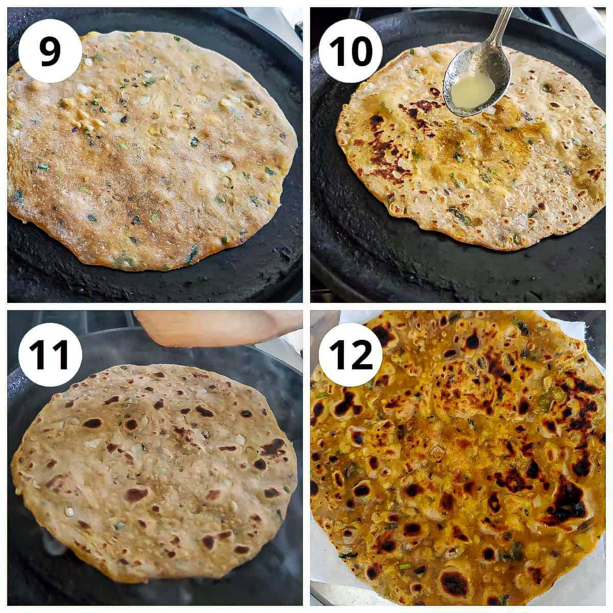 Steps for roasting dal paratha
