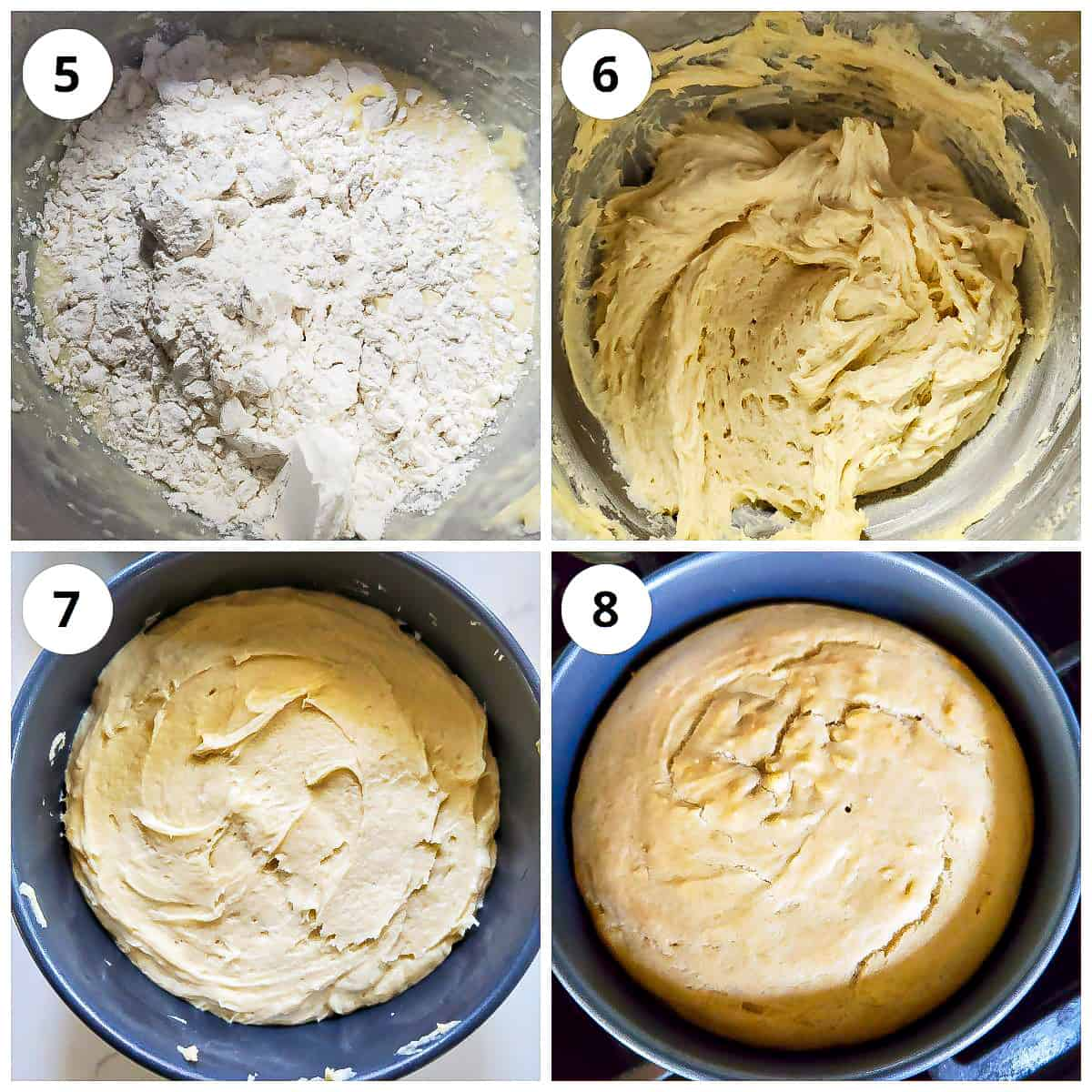Steps for adding dry ingredients and baking vanilla cake