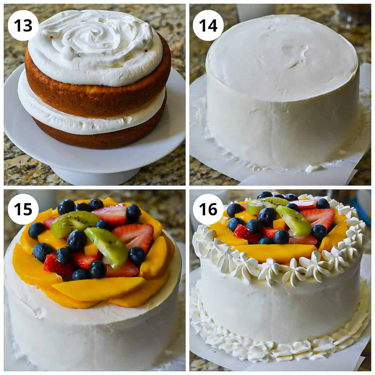 Steps for layering the vanilla cake with whipped cream frosting and fresh fruits