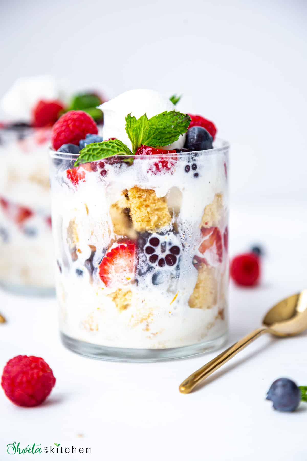 Front shot of Berry Parfait with cake and ice cream in a glass