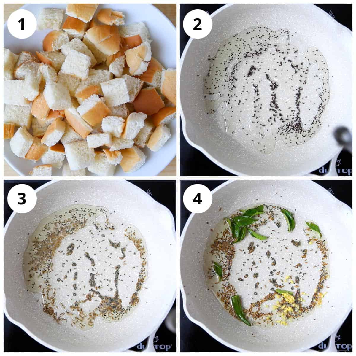 Steps for making bread pieces and tempering