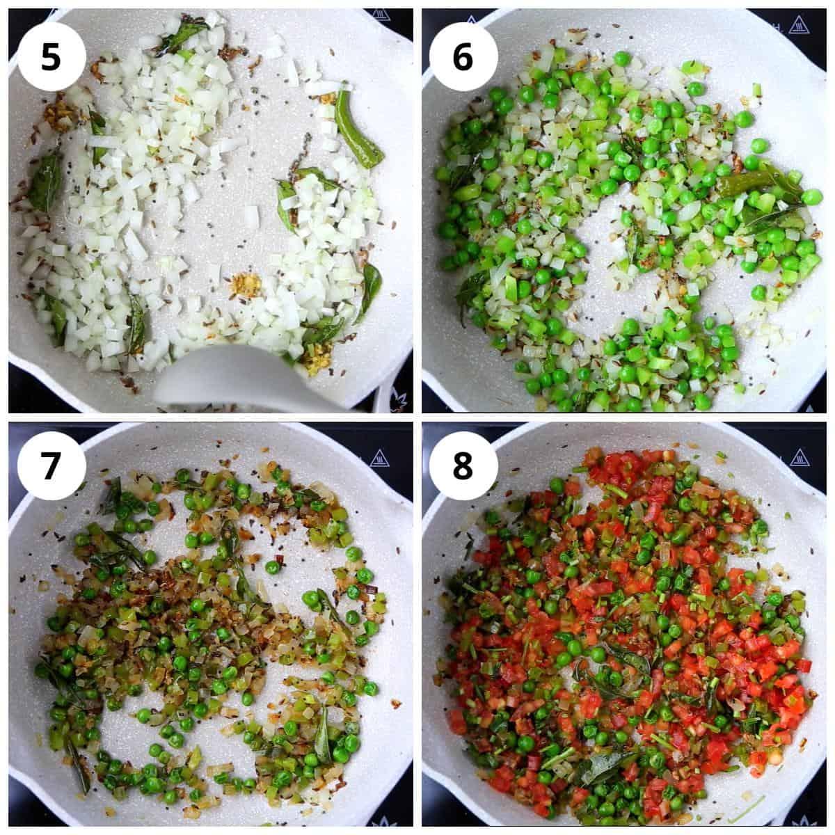 Steps for making onion tomato masala for bread upma