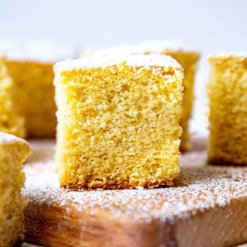 Slice of Eggless Vanilla Sponge Cake