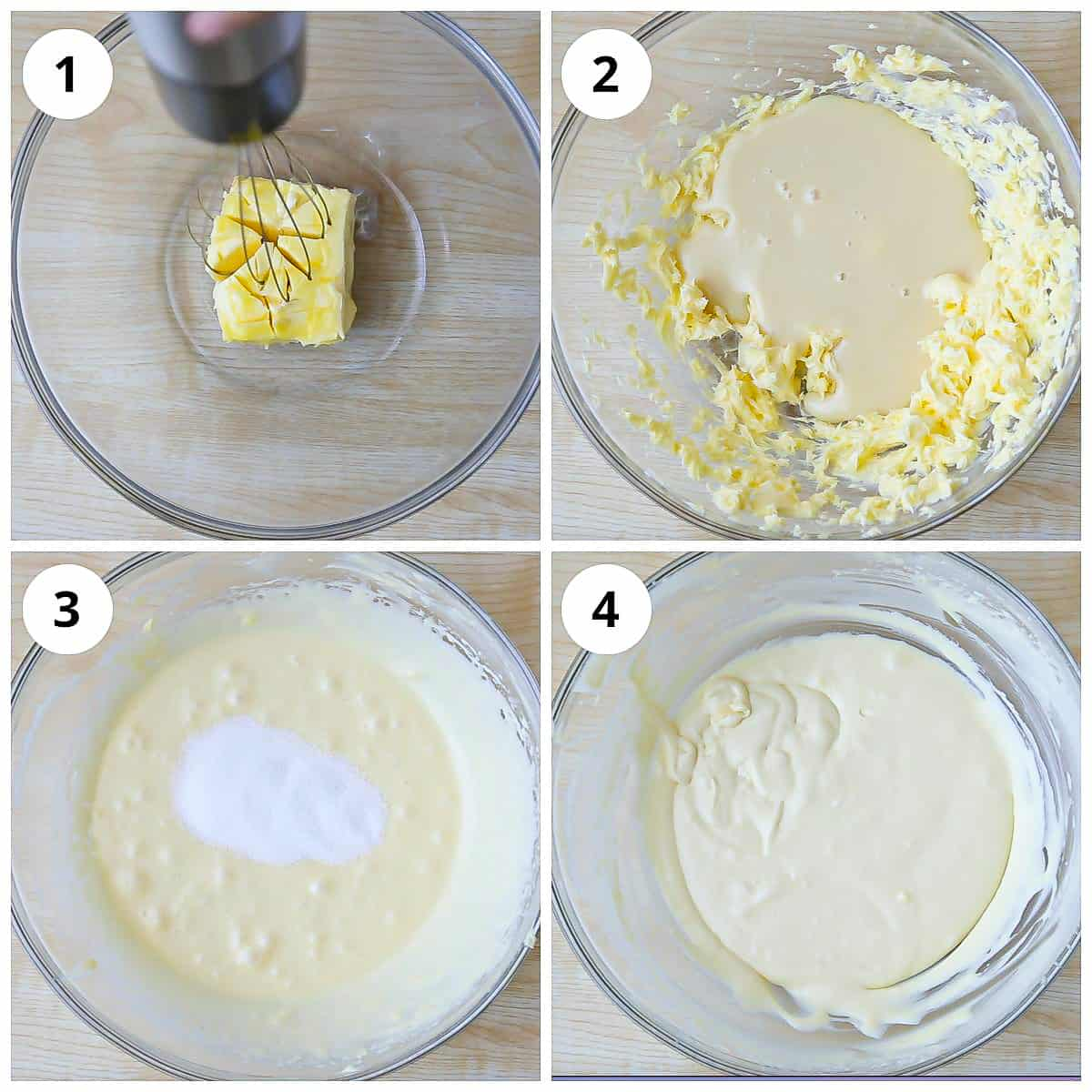 Steps to cream butter, sugar, and condensed milk for eggless vanilla cake