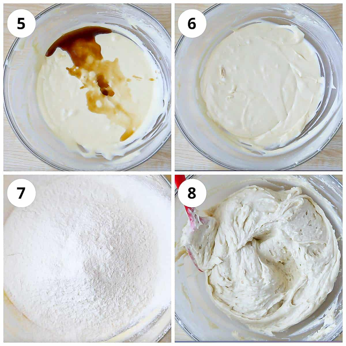 Steps for mixing wet and dry ingredients for making eggless vanilla sponge cake batter