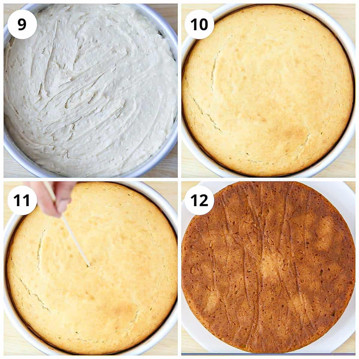 Steps for baking the eggless vanilla sponge cake