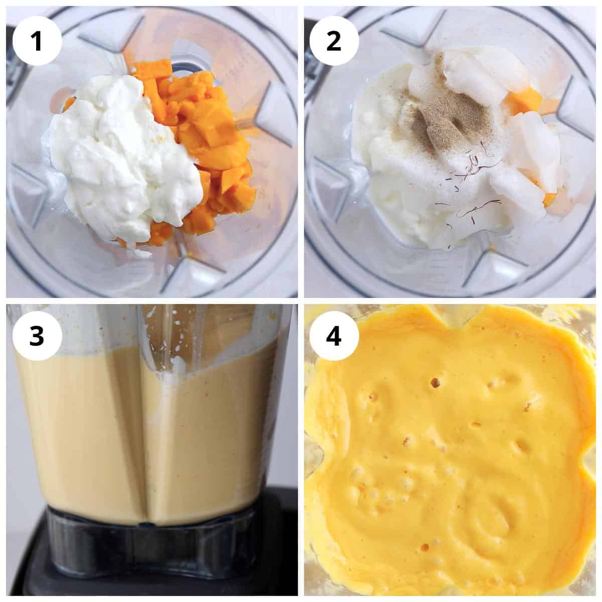 Steps to make mango lassi using blender