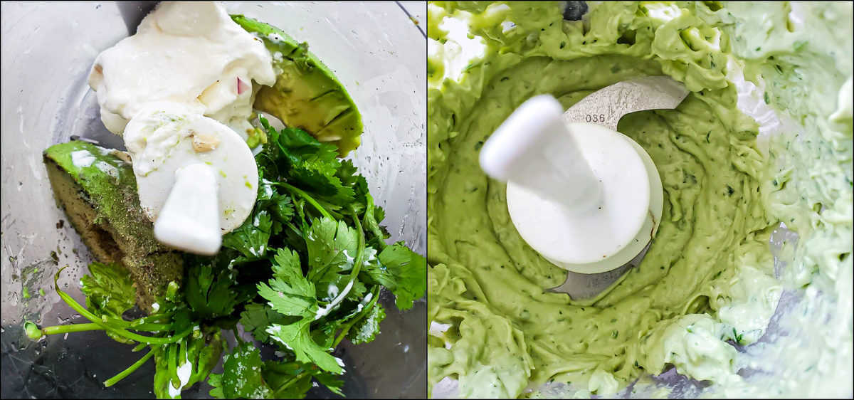 Steps for adding avocado dip ingredients to food processor and blending until creamy