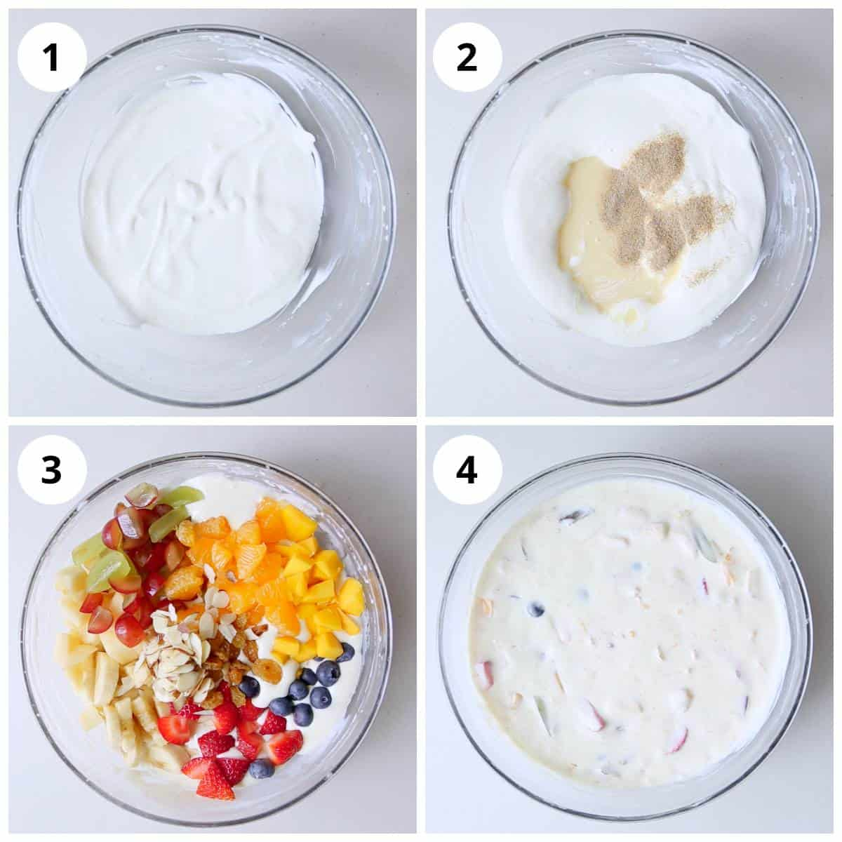 Steps showing how to make Fruit Salad with Condensed Milk and cream