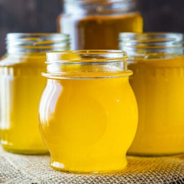 4 jars of homemade ghee in liquid form