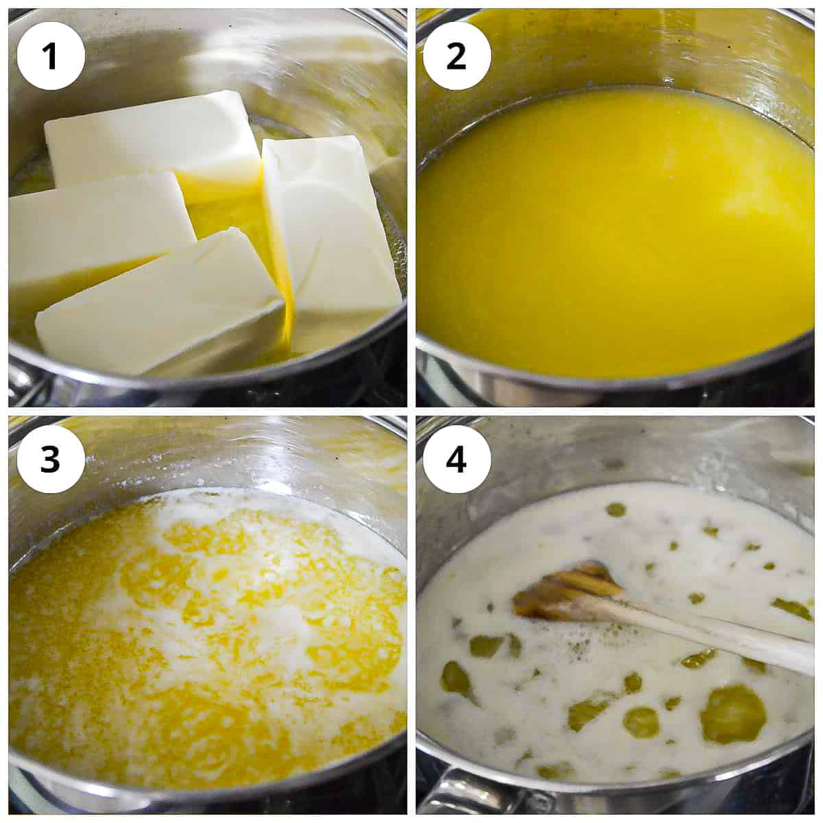 Steps for making ghee on stovetop by melting butter
