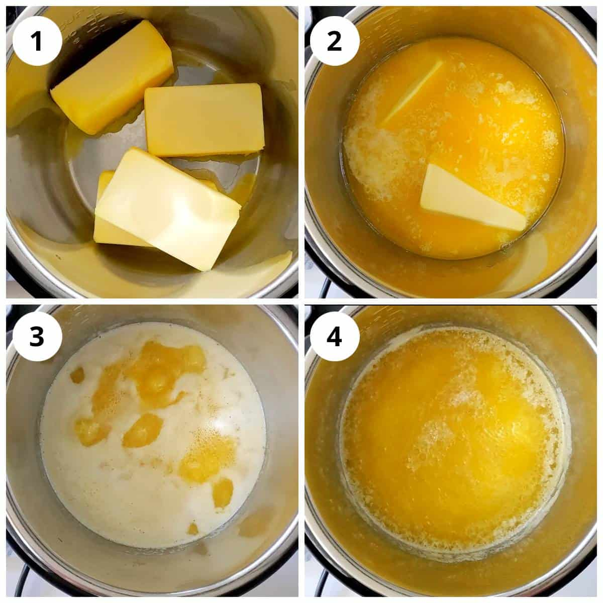 Steps for making ghee in Instant Pot by melting butter