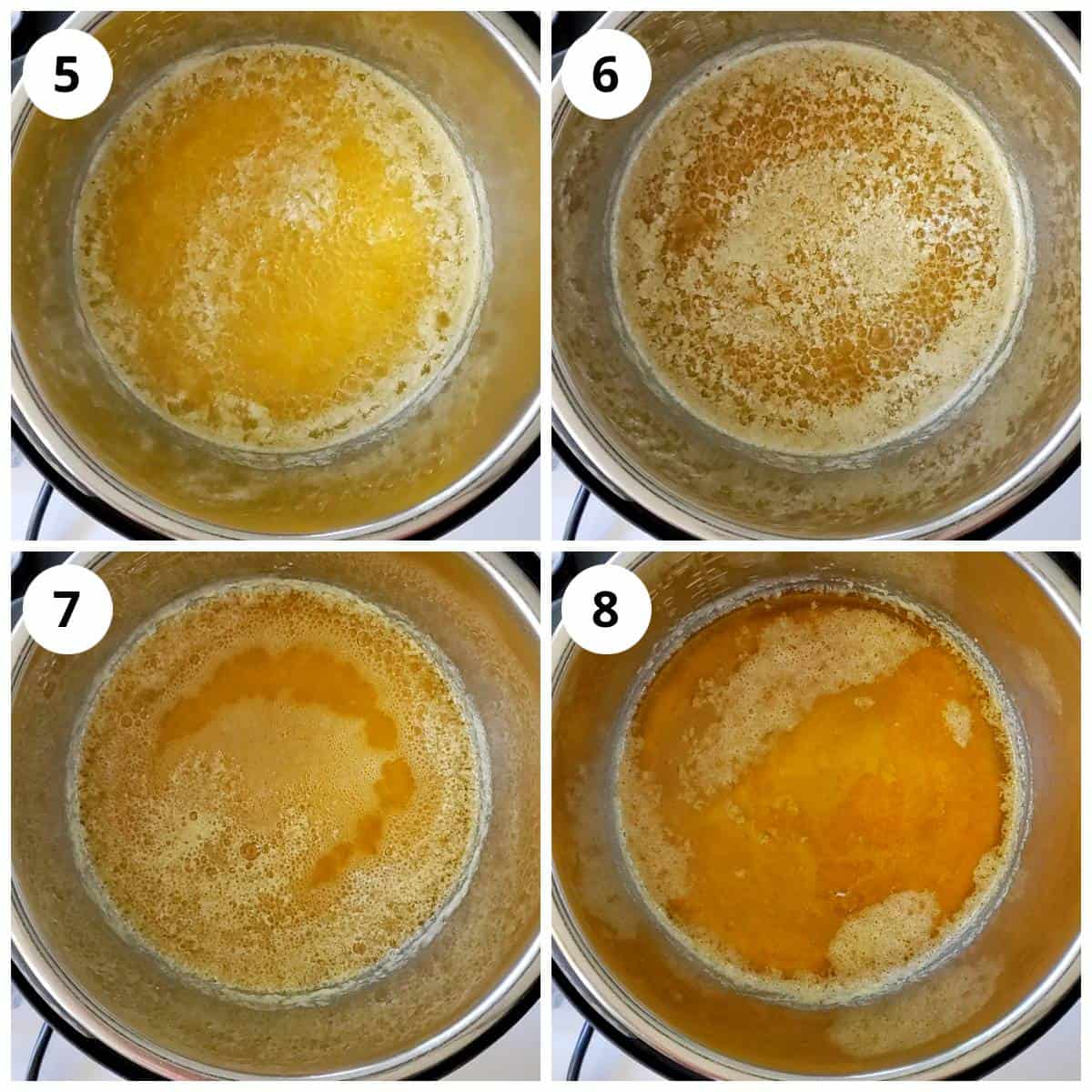 Steps showing milk solids seperating and settling to the bottom while making ghee in Instant Pot