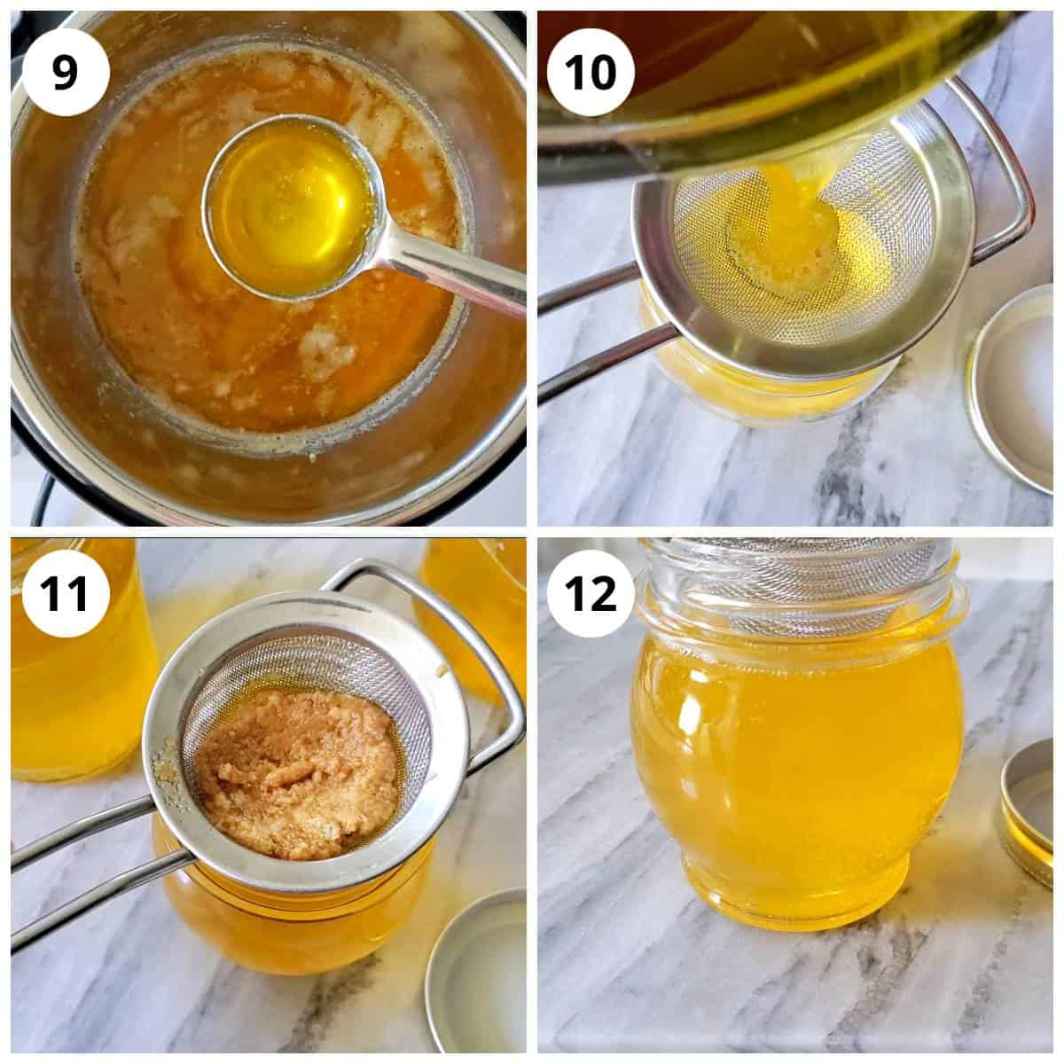 Steps for filtering and storing the ghee made in Instant Pot in clean fry jar