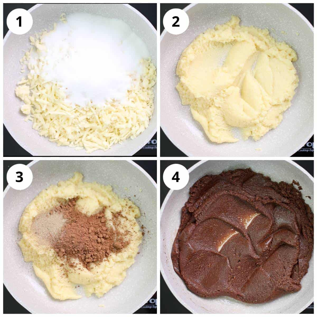 Steps for melting mawa, sugar and mixing with cocoa powder and cardamom powder for making chocolate modak